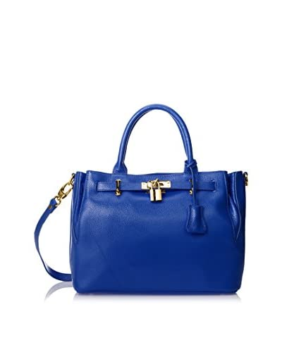 Zenith Women's Satchel with Lock, Cobalt