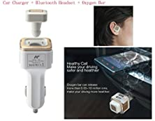 buy Kartice®Car Dual Usb Charger Adapter Oxygen Bar Wireless Bluetooth Headphone Headset Earphone 3 In 1 Car Kit For Apple Iphone Samsung Android Devices--Golden