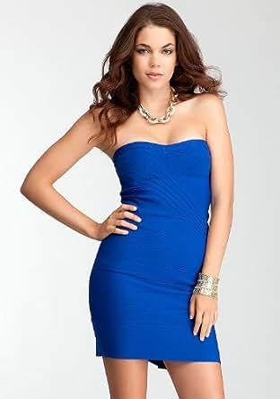 bebe SIZE XS Peplum Back Bandage Bodycon Dress - Blue | Amazon.com