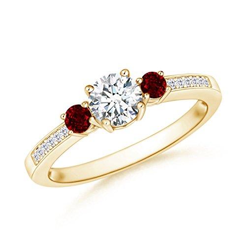 Prong Set Three Stone Round Diamond and Ruby Ring