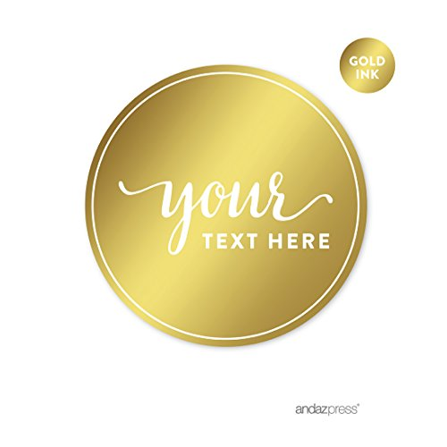 Andaz Press Fully Personalized Round Circle Label Stickers, Metallic Gold Ink, Solid Gold, 40-Pack, Custom Made Any Text, Not Gold Foil, For Baby Bridal Shower, Wedding, Anniversary (Personalized Party Stickers compare prices)