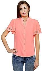 ShilpKala Women's Short Sleeve Top (skt3054l, Peach, Large)