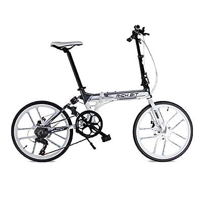 Folding bike MTB free style Road Bike Comfort bike White 20inch 7 speeds Suspension Aluminum Frame magnescium integrated wheel Disc Brakes 2016 New Updated TP-023-451