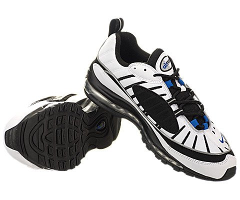 pictures of Nike Air Max 98 - White   Hyper Cobalt-Black-Metallic Silver f31a89b37a