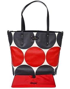 Kate Spade Bon Shopper Baby Bag, Diaper Bag, Tote, Deborah Dot Red/Black, Style PXRU3843K, Changing Pad included! by Kate Spade
