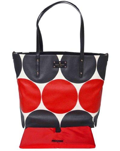 Kate Spade Bon Shopper Baby Bag, Diaper Bag, Tote, Deborah Dot Red/Black, Style Pxru3843K, Changing Pad Included! front-38008
