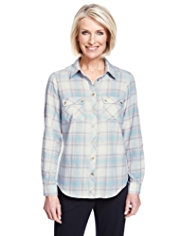 Classic Cotton Rich Metallic Effect Tonal Checked Shirt