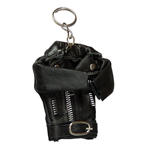 Miniature Leather Motorcycle Jacket Keyring Keychain