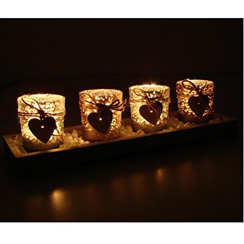 Teelichthalter-Set auf Echtholztableau inkl. Deko Kerzenhalter Windlicht Glas