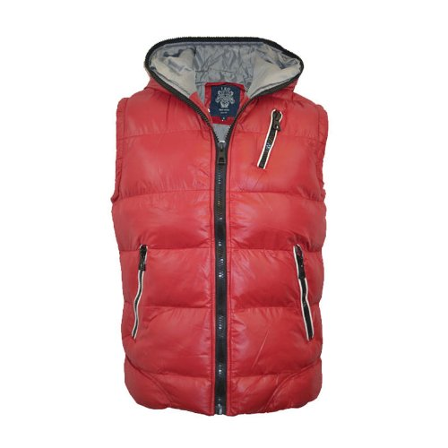 Mens Padded Bodywarmer Hooded Warm Gilet Jacket Sizes UK Red L