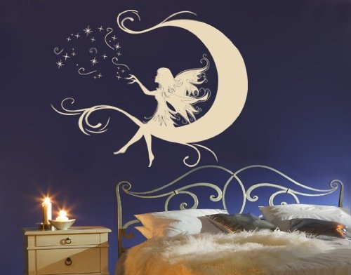 Best Quality Vinyl Wall Sticker Decals - Moon Fairy ( Size: 24in x 19in - Color: light pink ) - No: 2300