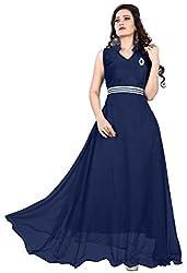 Femeie Apparel Women's A-Line Unstitched Dress (Blue)