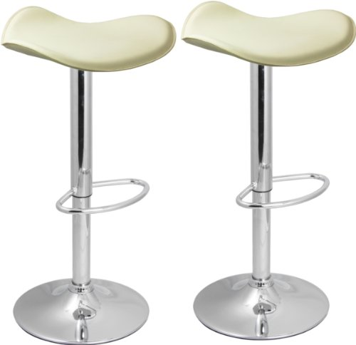 Pair of Venus Bar Stools Cream - Breakfast Bar Stool Kitchen Bar Stool by Lam...