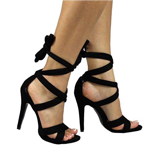 Donna Ankle Tie Punta Aperta Tacchi A Spillo Moda Ritagliare Sandali Tacchi Alti - Nero - UK5/EU38 - YE0024