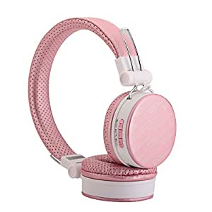 Shengpute Wireless Headphones,Foldable Bluetooth Earphones with Mic Noise Isolating Headsets for Iphones Earbuds ( pink)