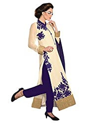 1 Stop Fashion Cream Semi Stitched Georgette Straight Cut Salwar Kameez