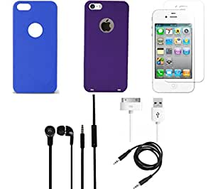 NIROSHA Tempered Glass Screen Guard Cover Case Headphone USB Cable for Apple iPhone 6 - Combo