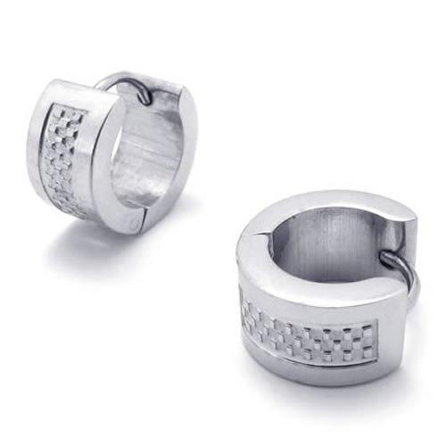 KONOV Jewelry Stainless Steel Mens Huggie Hinged Hoop Stud Earrings Set, 2pcs, Color Silver
