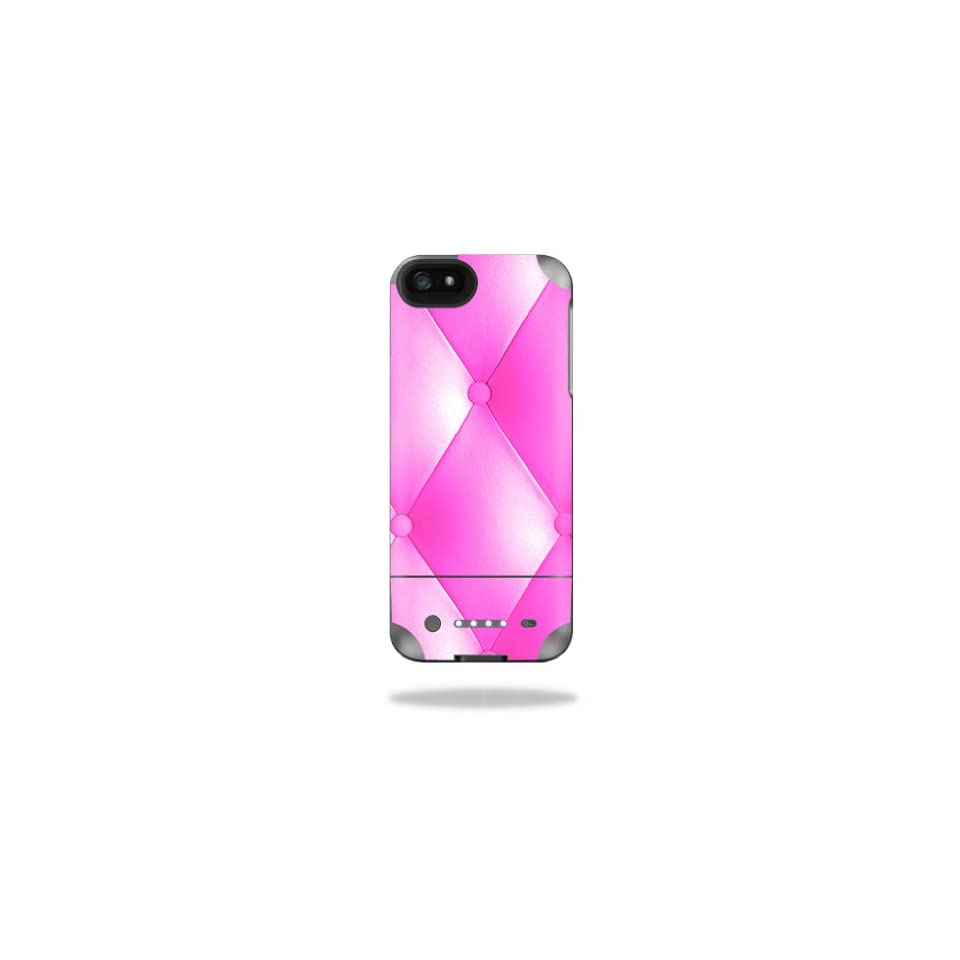 Mightyskins Protective Vinyl Skin Decal Cover for Mophie Juice Pack Helium iPhone SE/5s/5 External Battery Case wrap sticker skins Pink Upholstery