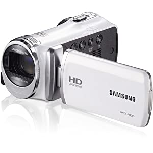 Samsung HMX-F90/F900 Camcorder (White) HD 720p Movies Video Recording w/ 52x Optical Zoom Lens, CMOS Sensor, 5MP Still Images, HDMI Output, and 2.7-Inch LCD Screen (Certified Refurbished)