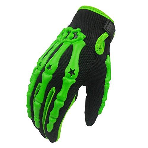 Chitone Full Finger Skeleton Motocross Riding Gloves for Motorcycle (X-Large, green)