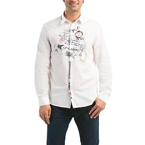 Desigual -  Camicia Casual  - Classico  - Maniche lunghe - Uomo bianco Large