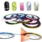 Nail Art Lot de 10 rouleaux de ruban...