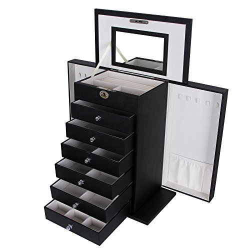 Songmics Black Leather Jewelry Box Cabinet Watch Storage Case Organizer with Lock & Mirror UJBC06B