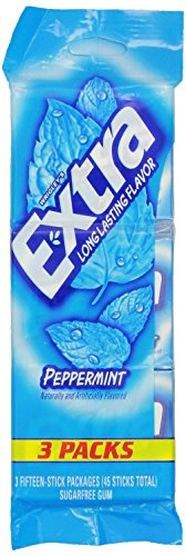 Wrigley's, Extra, Long Lasting Flavored Gum, Peppermint, 3 C