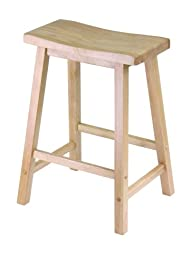 Winsome Wood 24″ Saddle Seat Stool, Nat.