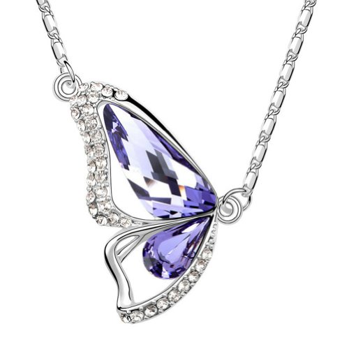 Chaomingzhen Austrian Crystal 18k White Gold Plated Charm Purple Flying Butterfly Pendant Necklace for Women Fashion Jewellery for Girlfriend with Chain 18