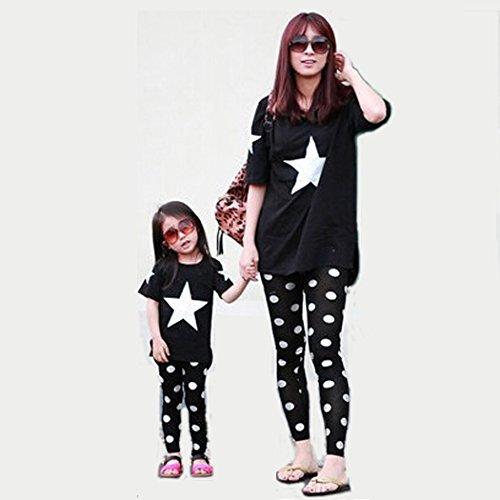 [ニューライフスカイ]子供服 親子ペア 短袖 家族 子供の服 スター lbertz0034 (ママ:M, ブラック)