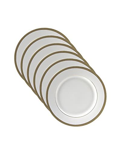10 Strawberry Street Set of 6 Luxor Gold Bread & Butter Plates, White/Gold