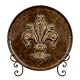 Metal Charger Plate - Oversized Medallion Plaque & Stand with Fleur De Lis