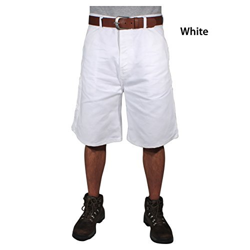 """Rugged Blue RBWS36 Painters Shorts, 36"""", White"""