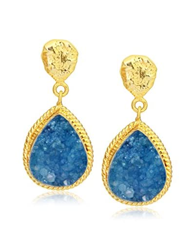 Saachi Teal Druzy Teardrop Earrings