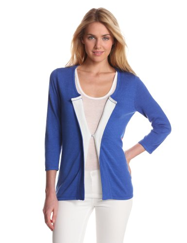 Evolution By Cyrus Women'S Peek A Boo V-Neck Cardigan Sweater, Electric Cobalt Combo, Small