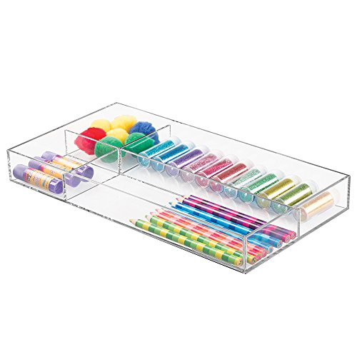 "mDesign Art Supplies, Crafts, Crayons and Sewing Drawer Organizer - 8"" x 16"" x 2"", Clear"