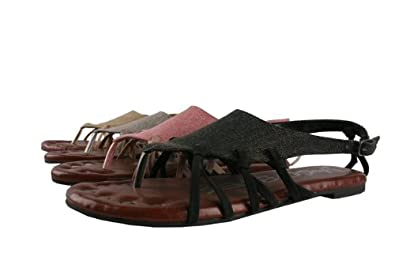 JACOBIES GOOD-6 Women¡¯s gladiator flat sandal thong with triangle denim upper and soft foot bed