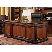 Hot Sale Home Office Executive Desk in Two Tone Warm Brown Finish