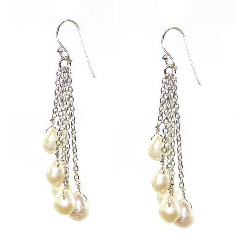 Franki Baker Silver & White Pearl Drop Earrings