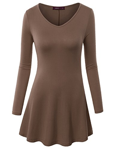 Doublju Women Simple Solid Color Long Sleeve Tops TAUPE,L