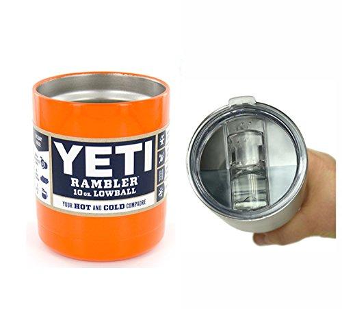 YETI Coolers Powder Coated - 10 oz (10oz) Rambler Lowball Stainless Steel Tumbler Cup Mug (Orange)