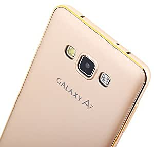 SHOPPING GATE Luxury Metal Bumper + PC Back Fusion Case Cover for Samsung ON 7 - Gold (With Free Tempered Glass For ON7)
