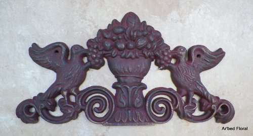 Cast Iron Bird Wall Plaque Picture Topper Burgundy Dove Floral Urn Decor Fruit front-425250
