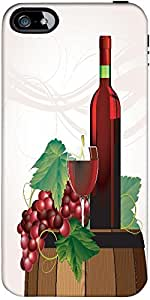 Snoogg The Glass Of Red Wine Bottle Old Barrel And Grape Vector Designer Case...