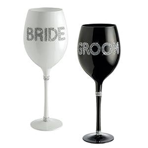 Grasslands Road Wedding Bride and Groom Wine Glass Set by Grasslands Road