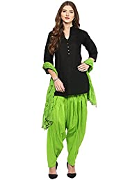 Pistaa Women's Cotton Short Black Kurta And Parrot Green Patiala Salwar With Dupatta Set & Plus Size