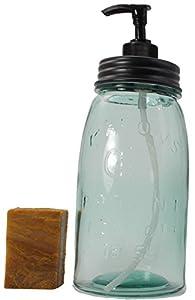 Yankee Traders Quart Mason Jar Soap Dispenser Gift Set & Handmade Bar of Soap Gift Set