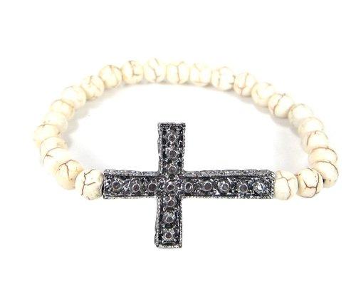 Cross Bracelet Side Ways Silver with Howlite Stone Beads Stretch
